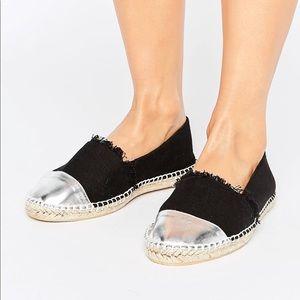 New black espadrilles with silver cap toe